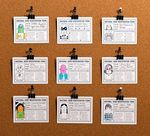 superhero registration cards! Great first day activity for the Comic Book Class!