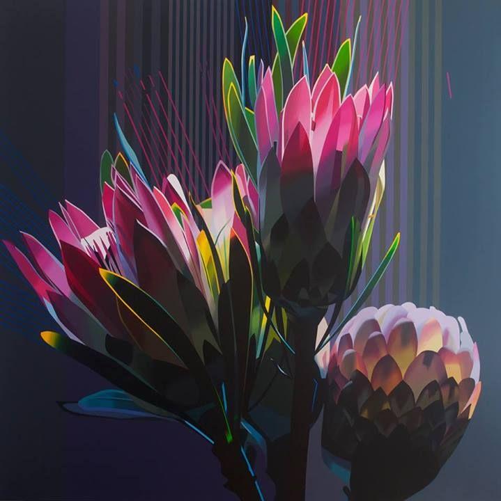 artist: PAUL BLOMKAMP  'Protea 2...the electric essence' 150 x 150cm acrylic on canvas