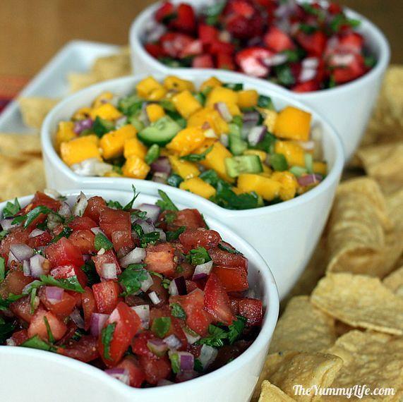 3 fresh Pico de Gallo salsas -- Classic Tomato, Mango Cucumber, and Strawberry Red Pepper. | from theyummylife.com