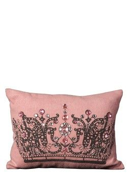 Jeweled Crow Pillow - Pink - 12in. x 16in.: Crowns, Queen, Dream, Pretty, Pillows