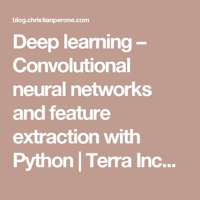 Deep learning – Convolutional neural networks and feature extraction with Python | Terra Incognita