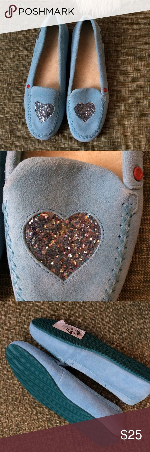 Pale blue Ugg slippers, size 7 Ugg slippers, pale blue with glitter heart & lambskin lining, size 7, never worn UGG Shoes Slippers
