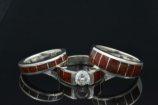 Dinosaur Bone Wedding Ring | Dinosaur bone engagement ring with matching ... | Dinosaur Bone Rings