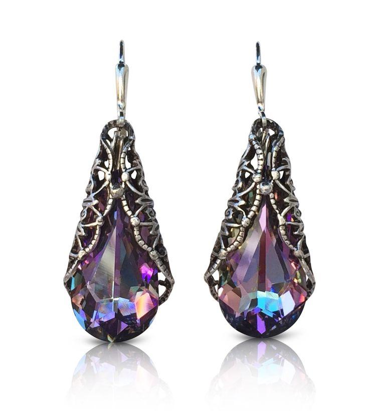 Vitrail Light Teardrop Silvertone Filigree Earrings With Crystal From Swarovski In Jewelry Watches Fashion
