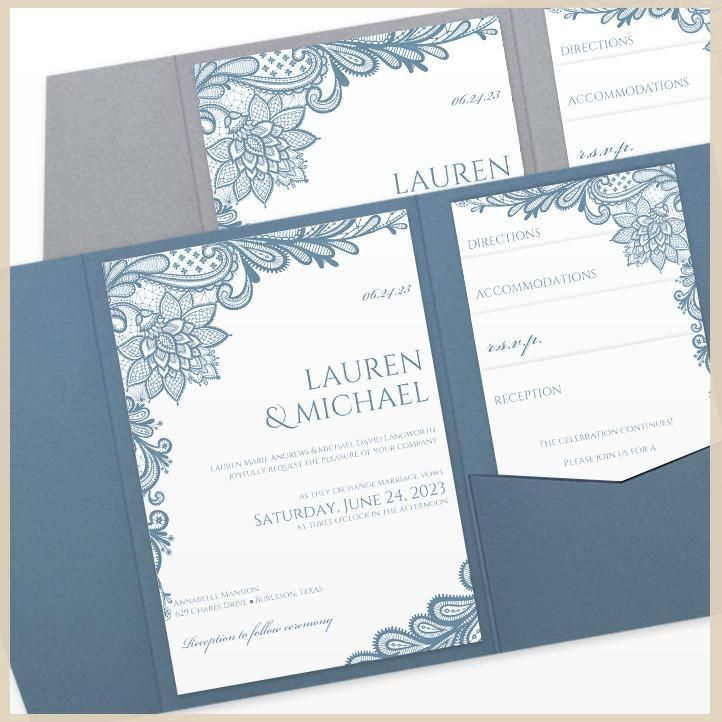 Lace Wedding Invitation Pocket Template Make Your Own Dusty Blue Pocket Wedding Invitations Wedding Invitation Templates Blue Wedding Invitations