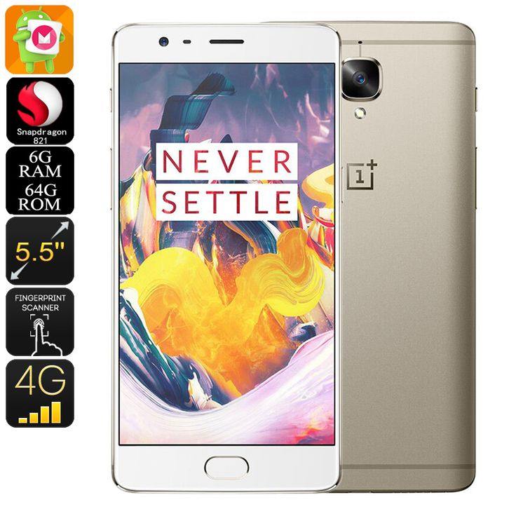 OnePlus 3T Android Smartphone - Quad-Core CPU, 6GB RAM, Android 6.0, 16MP Camera, 5.5 Inch Gorilla Glass, 4G (Gold) - The OnePlus 3T Android smartphone features stunning hardware and two 16MP cameras, making it one of the best Android phones out there.