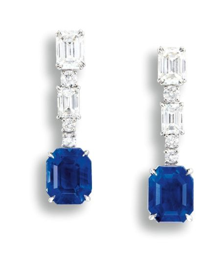 1bddd89c3 A Fine Pair of Sapphire and Diamond Pendent Earrings, Harry Winston. Two  step-cut sapphires, 4.36 and 4.66 carats. Surmounted by emerald-cut and ...