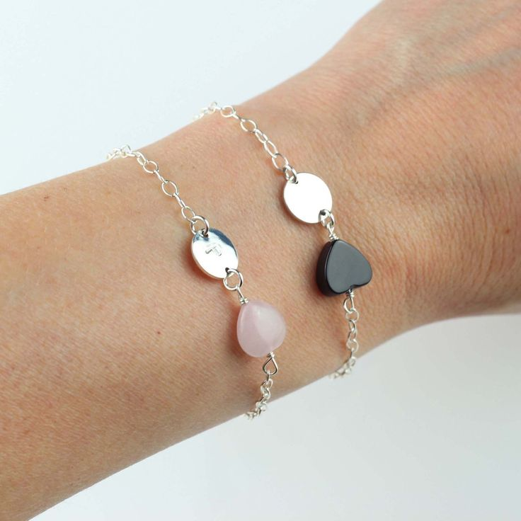 Need a Mother's day present idea? Maybe a personalized sterling silver bracelet with a rose quartz heart for unconditional love or a black onyx heart for grounding. With a hand stamped initial of your choice.