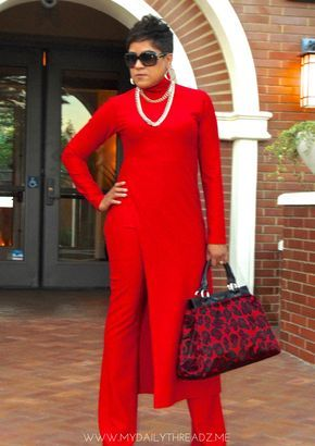 Red Ponte Knit turtleneck top with high split w/fit and flare pants. Nina Ramel pattern collection.