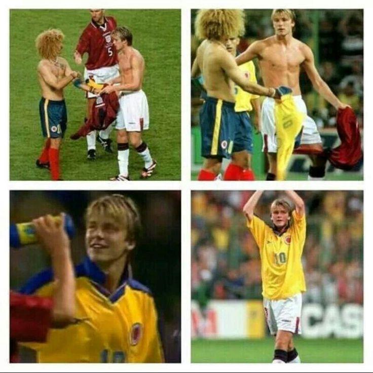 "David Beckham le pide la camiseta a Carlos ""El Pibe"" Valderrama"