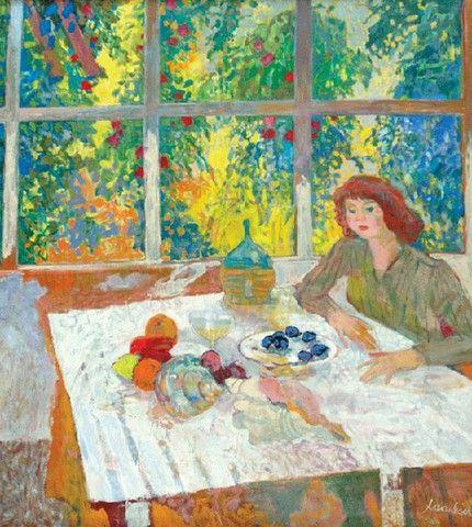 Jan SZANCENBACH (1928 - 1998)  Wnętrze z białym stołem olej, płótno, 100 x 90 cm;