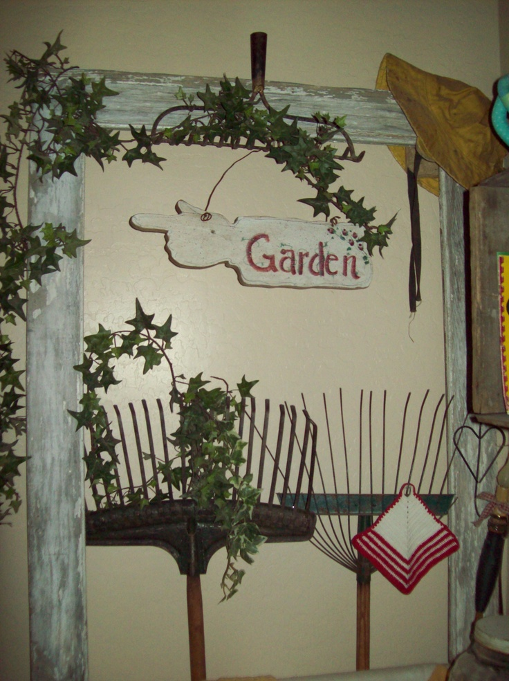 Old Rake Decor with old Screen Door My Junque Pinterest