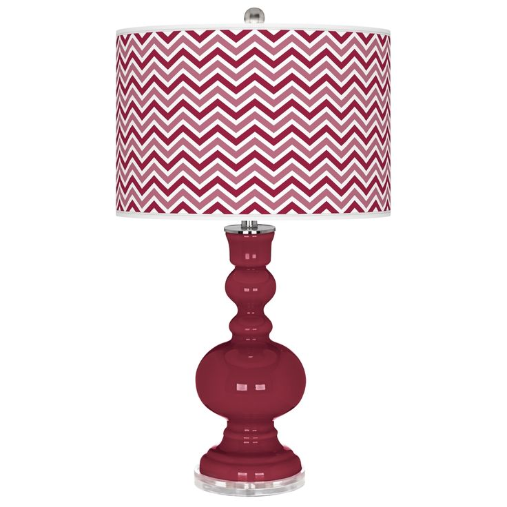 Antique Red Narrow Zig Zag Apothecary Table Lamp Style