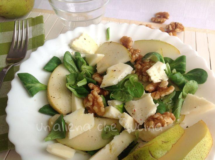 insalata valeriana con pere e noci
