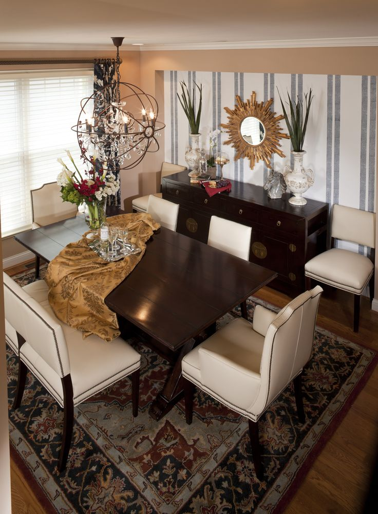 Dining room by reusch interior design settee chairs for Dining room ideas gold