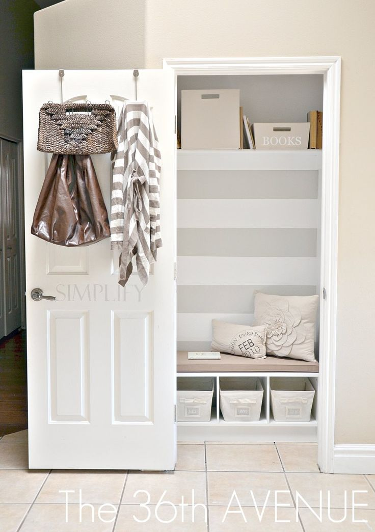The 36th AVENUE | The Mud Closet. | Redo idea for foyer coat closet. Keep the baskets and lower bench shelving, add coat hooks along the walls and lose the seat cushion and pillows.