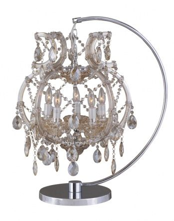 5-Light table lamp with gold teak crystals and metal frame