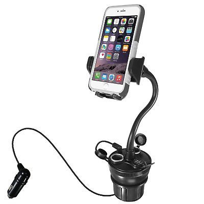 Macally Car Cup Holder Phone Mount with Two High Powered USB Charging Ports 4.2A