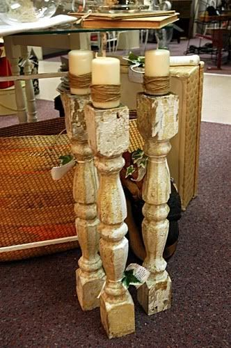 Old newel posts, balusters, or table legs can have a new life.