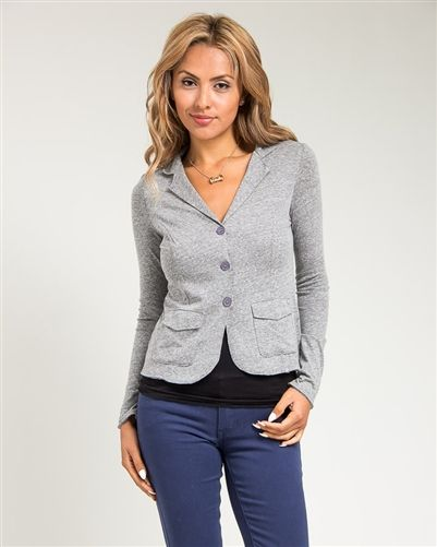 Grey 3 Button Office Blazer
