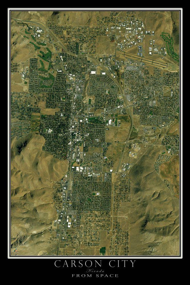 Carson City Nevada Satellite Poster Map 369