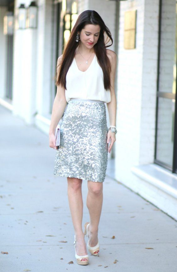 Silver Sequin Skirt + White top | Winter trends for Party