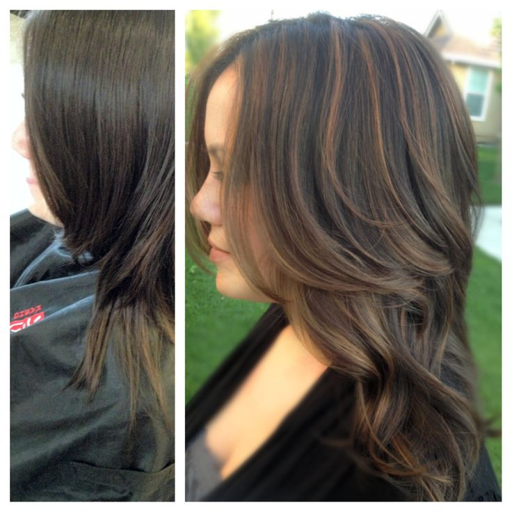 Before and After two-toned brunette highlights by Aj ...