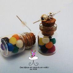 Bijoux fimo gourmands , fioles bonbons multicolores,  boucles d'oreilles fimo. Polymer clay. http://des-bijoux-en-veux-tu.alittlemarket.com www.facebook.com/Desbijouxenveuxtuenvoila