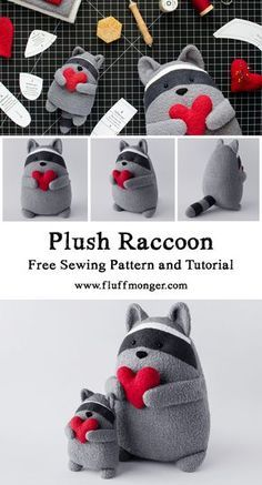 Scrabbles the Raccoon Free Sewing Pattern and Tutorial