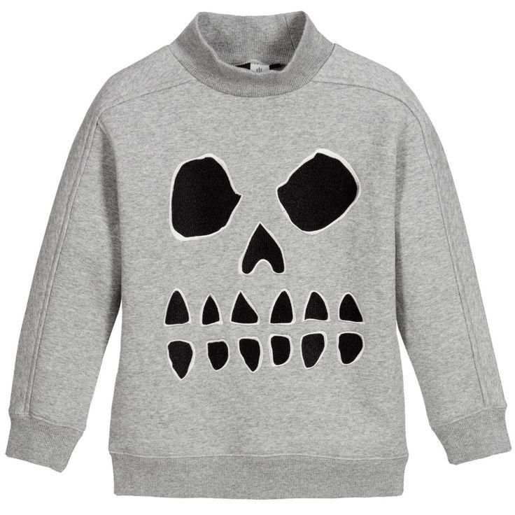 Molo Boys Grey 'Magne' Skull Sweatshirt