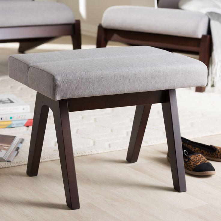 Baxton Studio Mid-Century Medium Brown Finish Wood and Grey Fabric Ottoman (Footstool-Grey/Walnut Brown)