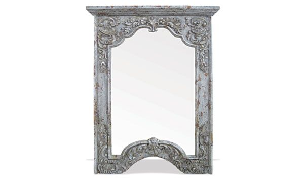 This mirror features an elaborate hand painted distressed finish and an intricate hand carved scroll design! You can see more of The Koenig Collection's elaborate furniture and accessories online on our website!