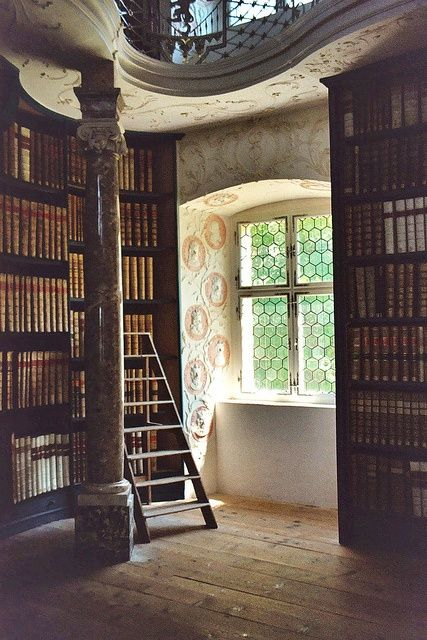 A nook in the library of Einsiedeln Abbey - by ©octopuzz, (a Benedictine monastery in the town of Einsiedeln, Canton of Schwyz, Switzerland). The library, founded 946, holds 50,000 volumes and over 1,230 manuscripts (500 of them dated before 1500). [Please keep photo credit and original link if reusing or repinning. Thanks!]