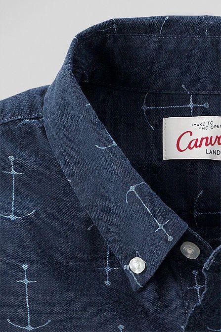 Anchor print chambray shirt // Canvas Lands' End