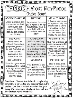 96 best learning menus and choice boards images on pinterest a strategy for providing student choice on how to read non fiction a tic tac toe grid is provided and students select three items on the grid to implement pronofoot35fo Choice Image