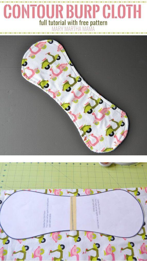 Contour Burp Cloth Pattern – Mary Martha Mama- How to make a contoured burp cloth- full tutorial and printable baby burp cloth pattern