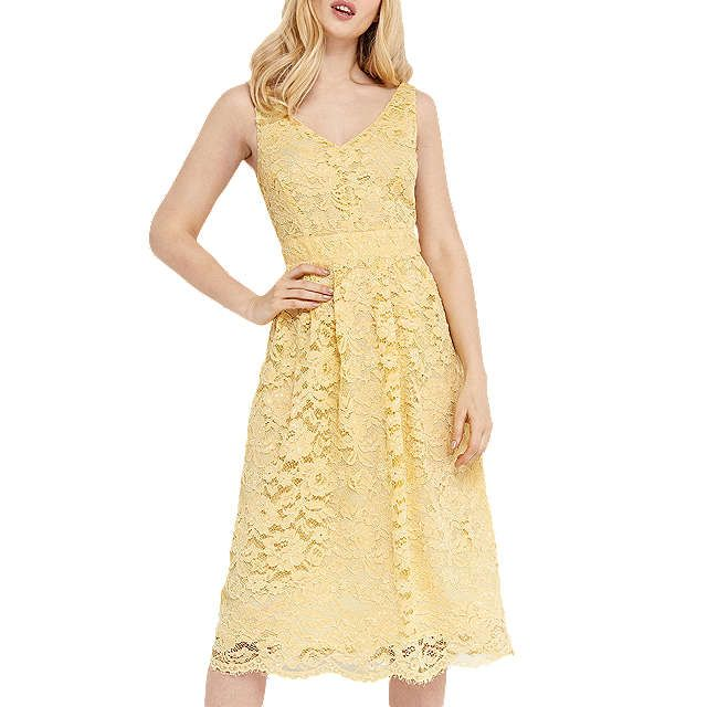 BuyOasis Lace V-Neck Skater Dress, Pale Yellow, 8 Online at johnlewis.com
