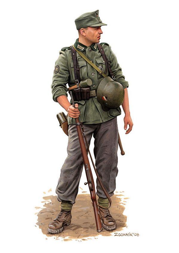 """Infante de montaña"", Yugoslavia, Abril de 1941. Ilustración de Dmitry Zgonnik."