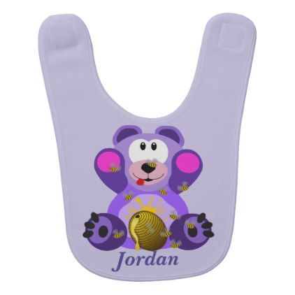 Kid's Cute Purple Teddy Bear Bib - baby gifts child new born gift idea diy cyo special unique design