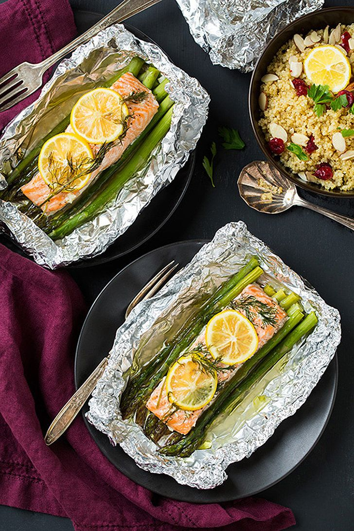 Salmon and Asparagus: For a fast, fresh, and foolproof dinner, you can do no better than salmon and asparagus baked in foil. Plus, the foil pouches mean easy cleanup.