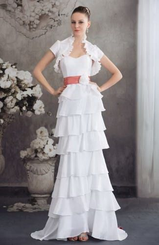 A-Line Sweetheart Taffeta Bridal Gown - Order Link: http://www.thebridalgowns.com/a-line-sweetheart-taffeta-bridal-gown-tbg2613 - SILHOUETTE: A-Line; SLEEVE: Sleeveless; LENGTH: Sweep/Brush Train; FABRIC: Taffeta; EMBELLISHMENTS: Sash , Flower , Tiered , Ribbon - Price: 175.99USD
