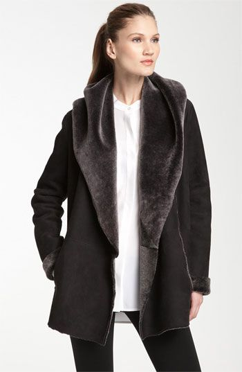 Beautiful - looks so soft! Vince Hooded Genuine Shearling Coat available at #Nordstrom