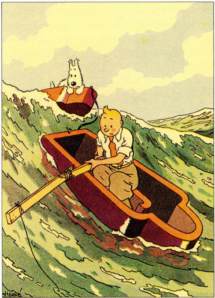 "Hergé - Tintin ""Les cigares du pharaon"" Illustration for the reissue Editions Casterman - 1937"