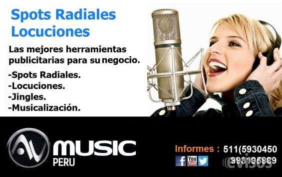 Spots,locuciones,Publicidad radial-Avmusic Perú Avmusic PeruSpots Radiales/Spots Publicit .. http://lima-city.evisos.com.pe/spots-locuciones-publicidad-radial-avmusic-peru-id-612143
