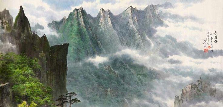 금강산 by 명시환.  North Korea Artist