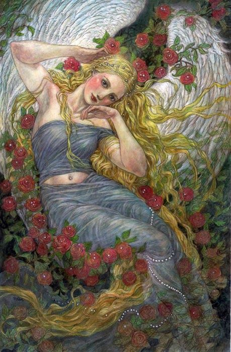 ~roses blonde girl illustration by Rebecca Leveille-Guay