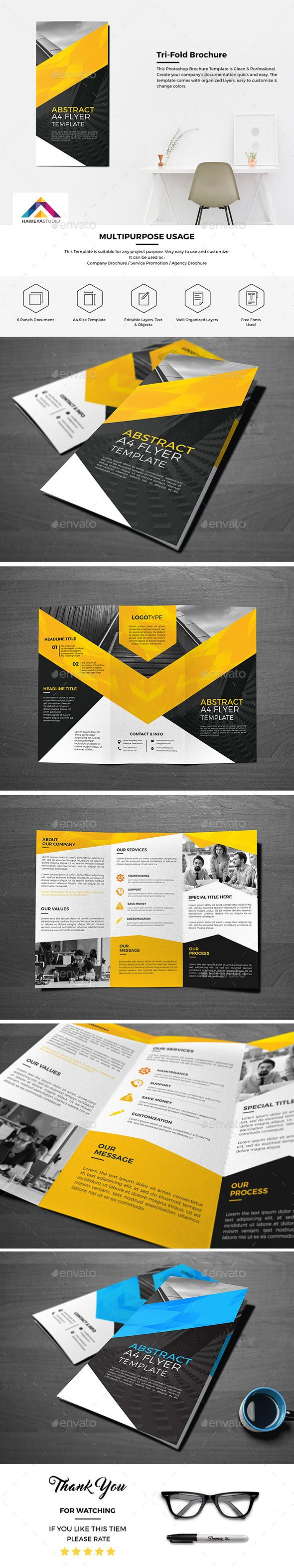 Haweya Tri-Fold Brochure Template PSD. Download here: http://graphicriver.net/item/haweya-trifold-brochure-01-/15774714?ref=ksioks