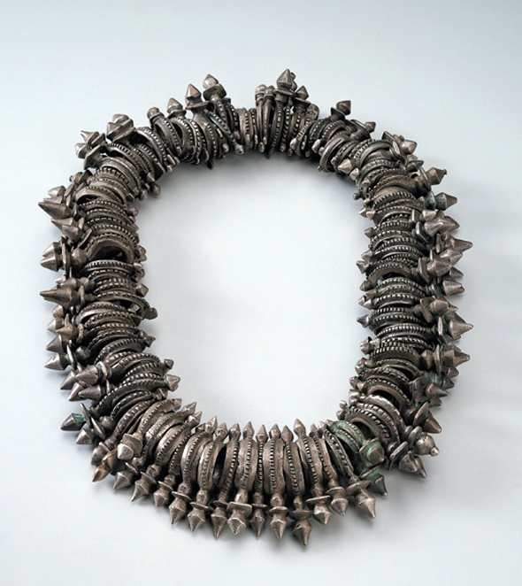 Africa | Necklace Made of Crosses of Zinder from the Tuareg people of Niger | 20th century | Silver and cord.