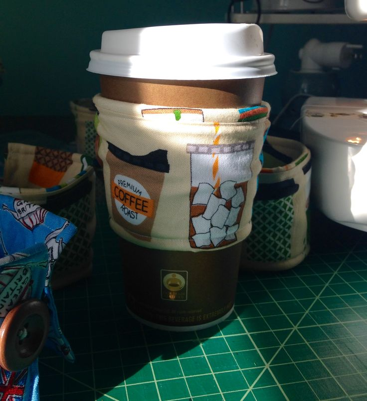 Coffee Cozies are available in multiple fabrics and patterns.