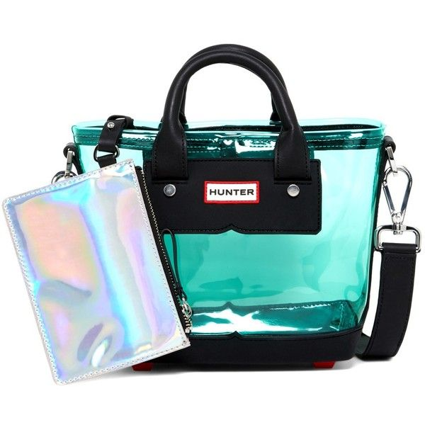 Hunter Original Small Clear Mini Tote (£66) ❤ liked on Polyvore featuring bags, handbags, tote bags, tourmaline green, mini purse, clear handbags, mini tote, green handbags and mini handbags